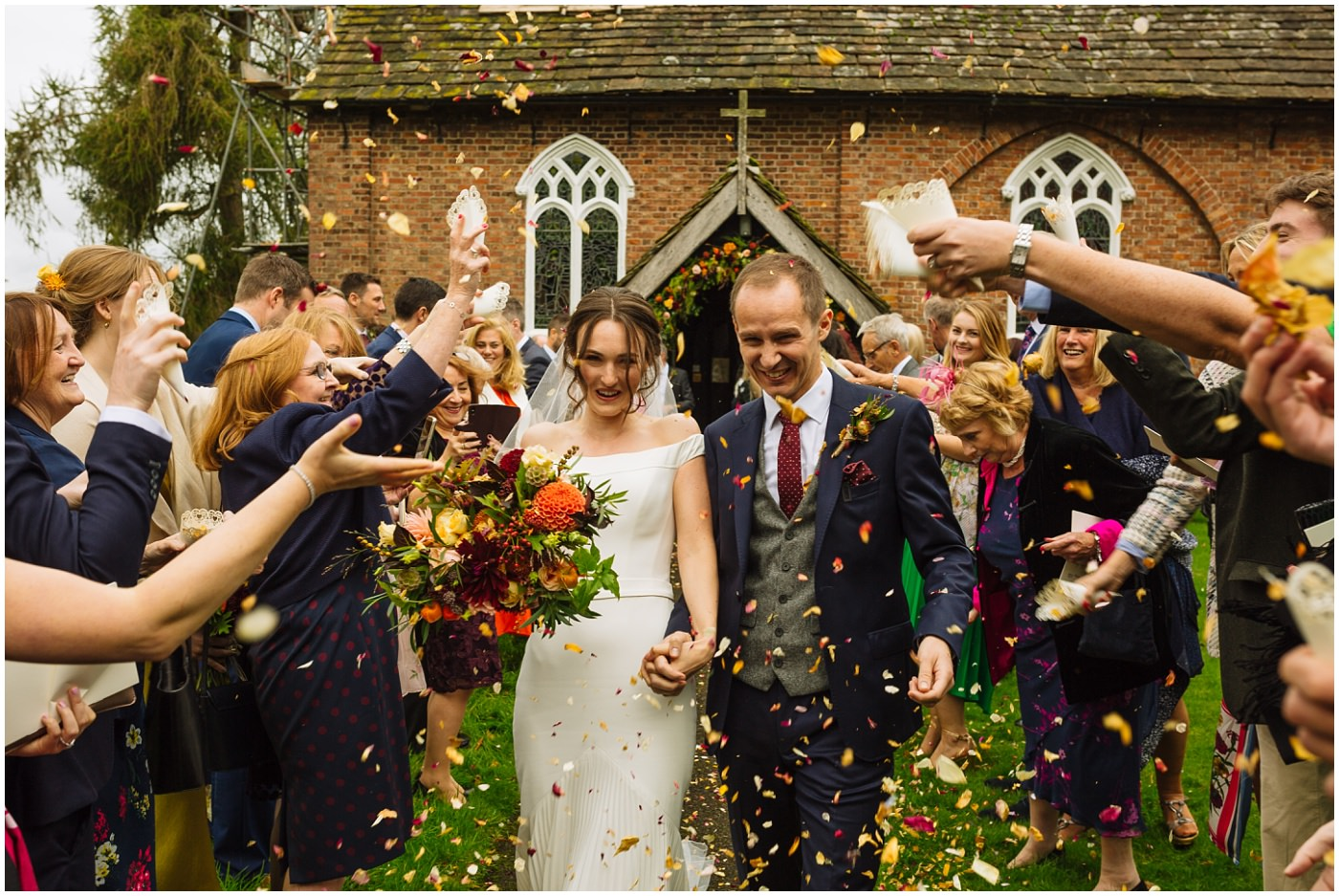 Confetti as couple leave church at cheshire wedding