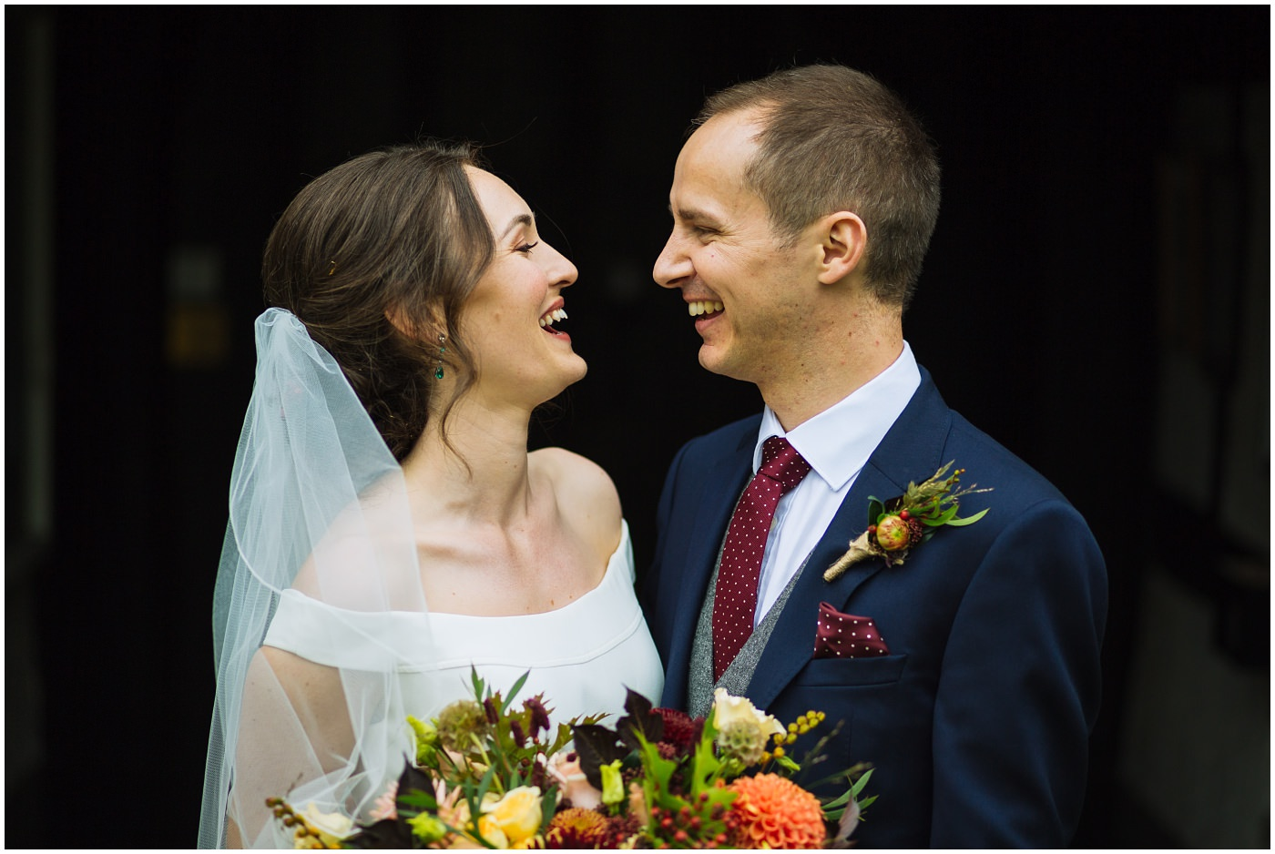 bride and groom for an autumnal cheshire wedding