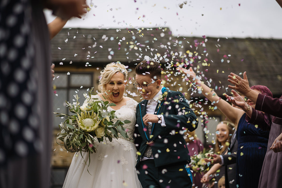 Confetti at same sex hyde bank farm wedding