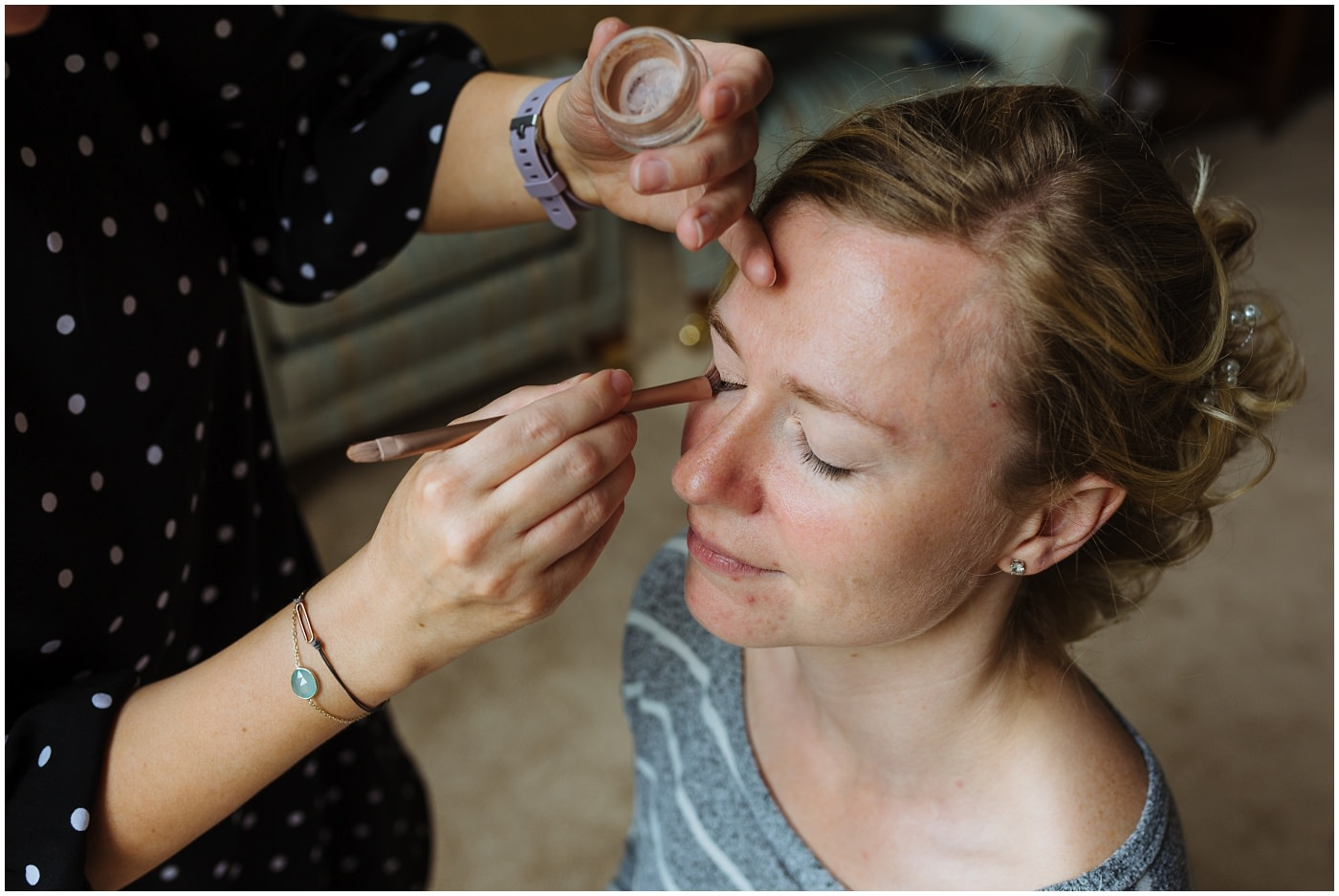 bridal prep for a wildwood and eden festival wedding