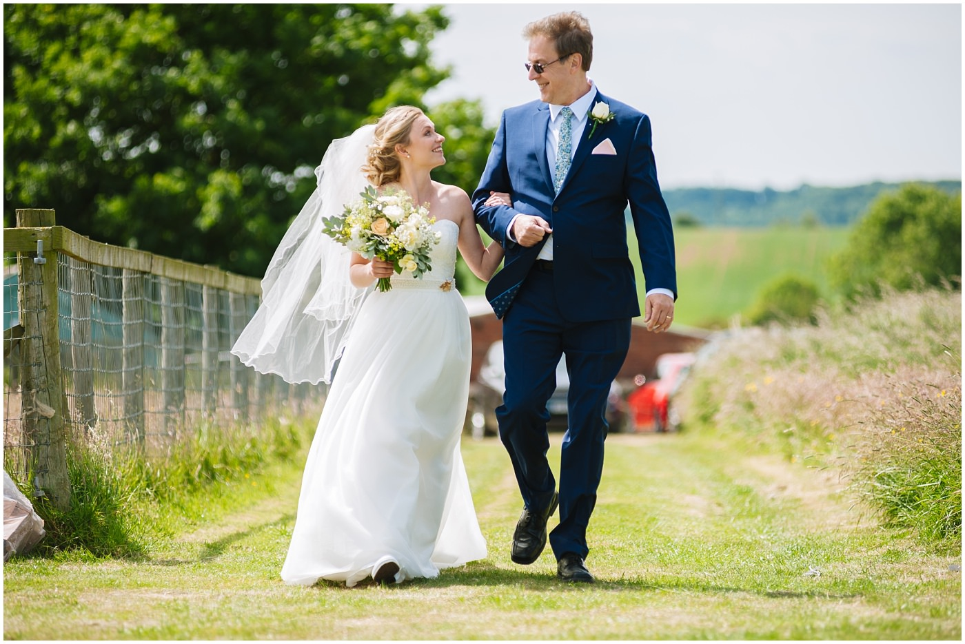 bride and dad arrive at festival wedding