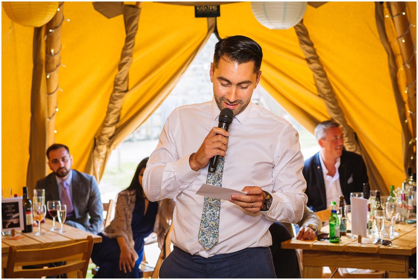 grooms speech at festival tipi wedding